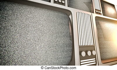 tv sets with static - 3D render of retro tv sets with static...