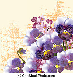 Floral vector background with viol - Vector cute flowers in...