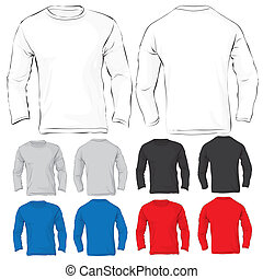 Mens Long Sleeved T-Shirt Template in Many Color - Vector...