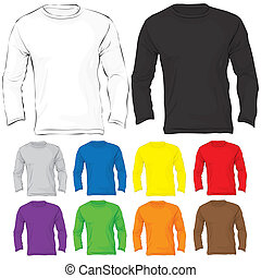 Men's Long Sleeved T-Shirt Template in Many Color - Vector...