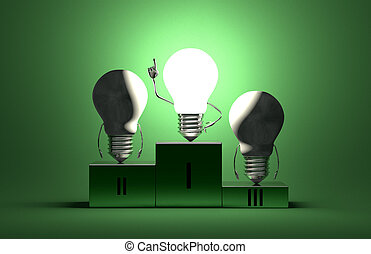 Glowing tungsten light bulb character and dead ones on...