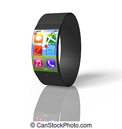 ultra-thin curved screen smart watch isolated on white with...