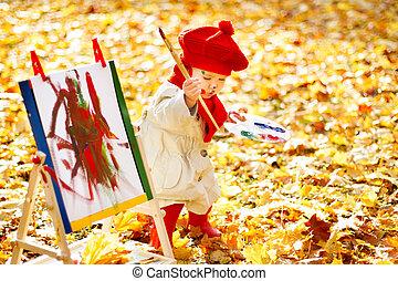 發展, 畫架, 創造性, 秋天, 孩子, 孩子, 圖畫, 公園