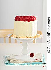 cumpleaños, pastel, crema, queso