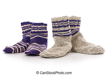 Knitted socks - Knitted warm socks isolated over white...
