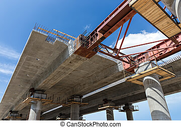 Bridge construction close-up - Construction superstructure...