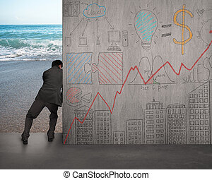 businessman push doodles concrete wall away with beach