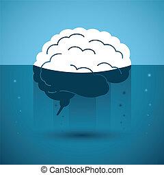 Human brain in strange liquid. Vector concept.