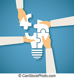 Vector concept of creative teamwork with light bulb puzzle...