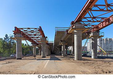 Road construction - Elevated road construction site....