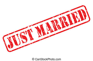 JUST MARRIED red stamp text on white