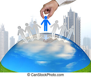 hand hold 3D people on nature globe with city background