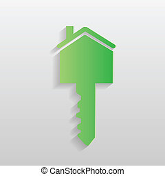 Green House Key - Illustration of a green house key isolated...