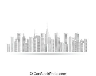 Paper City - Illustration of a city skyline isolated on a...
