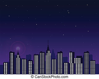 Night City - Illustration of a city skyline with a twilight...