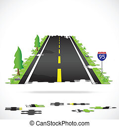 Highway Puzzle Illustration