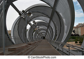 Spherical metal modern bridge Madrid, Spain - Spherical...