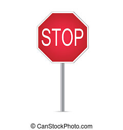 Stop Sign - Illustration of a stop sign isolated on a white...