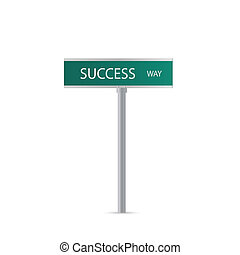 Success - Illustration of a Success sign isolated on a white...
