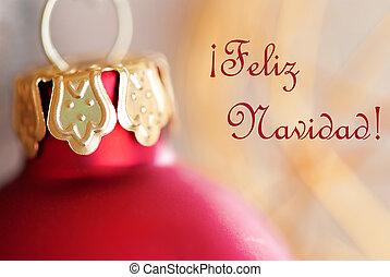 Christmas Ball Decoration with Feliz Navidad - Red Christmas...