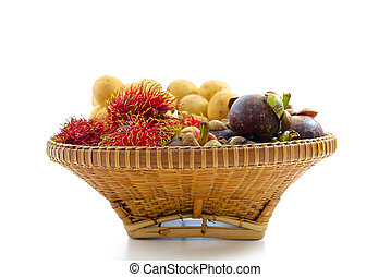 tropical fruit in basket
