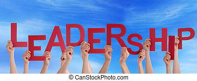 Hands Holding Leadership in the Sky - Many Hands Holding the...
