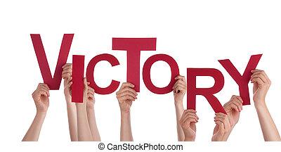 vitória, segurando, mãos