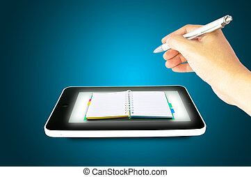 Black tablet pc with hands and book on blue background...