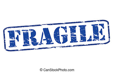 Fragile - Rubber stamp with word fragile inside, vector...