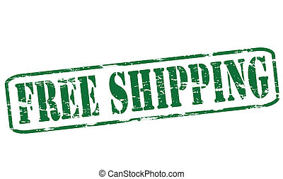 Free shipping - Rubber stamp with text free shipping inside,...