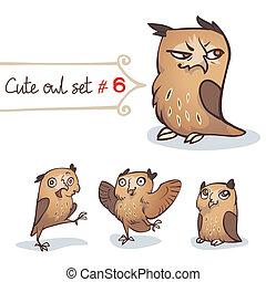 Cute Little Owl Set - Cute cartoon little owls set....