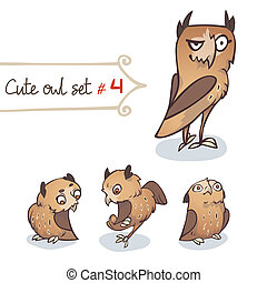 Cute Little Owl Set - Cute cartoon little owls set Character...