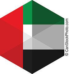 Emirates Flag Hexagon Flat Icon Button