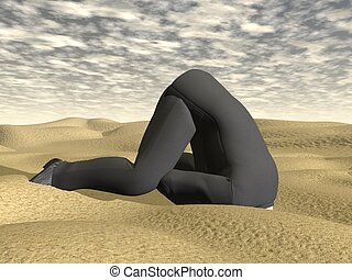 Businessman burying his head in the sand - 3D render -...