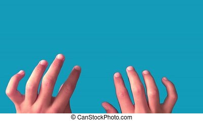 Hands of a teenager. Gestures work on the keyboard. Blue...
