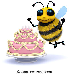 3d Honey bee has a birthday cake - 3d render of a bee with...