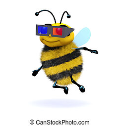 3d Honey bee wearing 3d glasses - 3d render of a bee wearing...