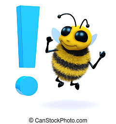 3d Bee is surprised by an exclamation mark - 3d render of a...
