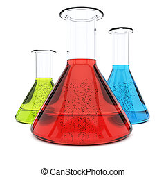 Chemistry flasks with colorful liquid isolated on white...