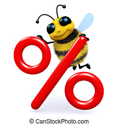 3d Honey bee with interest rate symbol - 3d render of a bee...