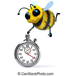3d Honey bee with a stopwatch - 3d render of a bee with a...