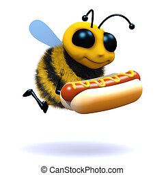 3d Honey bee has a hot dog - 3d render of a bee holding a...