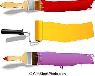 Paint brush and roller banners - Paint brushes and rollers...
