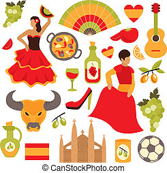 Spain icons set - Spain travel tourist attractions icons set...