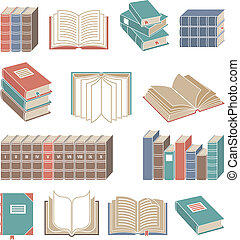 Book icons set color - Open and closed book decorative icons...