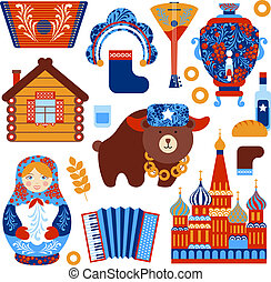 Russia travel set with vintage national elements icons set...