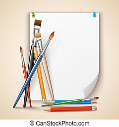 Paint brush and paper - Art color paintbrushes and pencils...