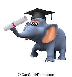 3d Elephant graduates - 3d render of a cartoon style...