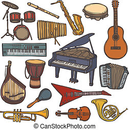 Musical instruments sketch icon - Musical instruments sketch...