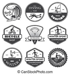 Extreme sports labels set - Vacation travel extreme sports...